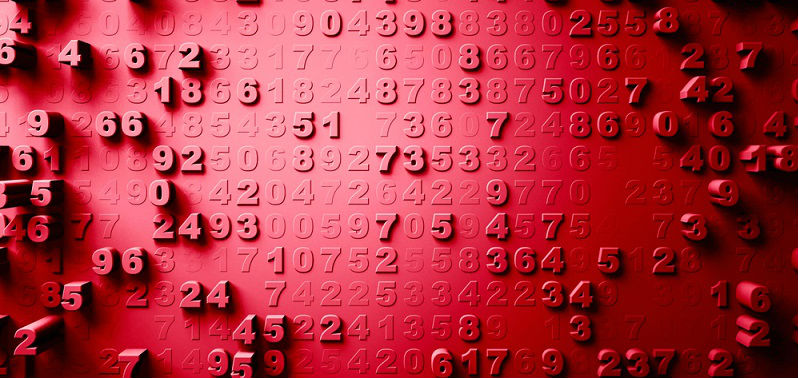 random numbers on red background