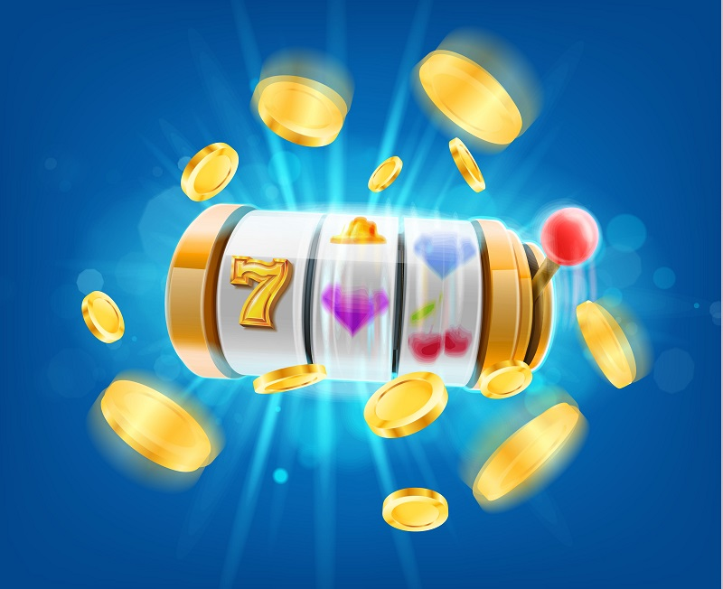 spinning slot reel and coins